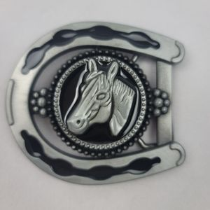 NWT 3D horse belt buckle pewter color